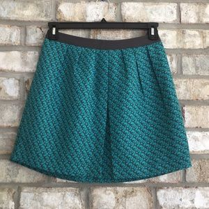 MOSSIMO ABSTRACT TEAL/GRAY PLEATED A-LNE SKIRT XSP